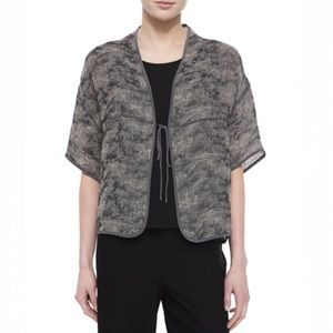 Eileen Fisher Jacquard Linen-Blend Tie Jacket
